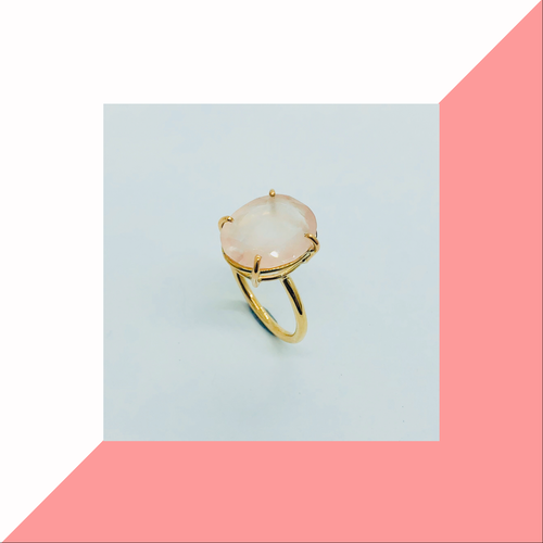 Rose cut Rose Quartz ring