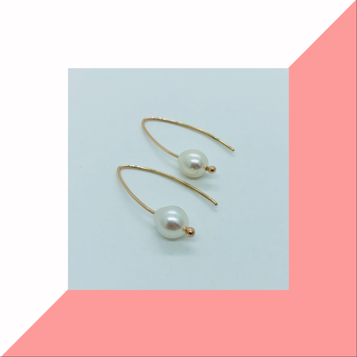 9ct Yellow Gold and Pearl Drop Earrings