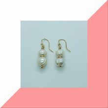 Load image into Gallery viewer, 9ct Yellow Gold Double Pearl Earrings