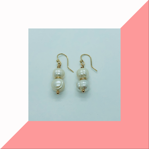 9ct Yellow Gold Double Pearl Earrings
