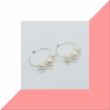 Load image into Gallery viewer, Pearl Round Hoop Earrings