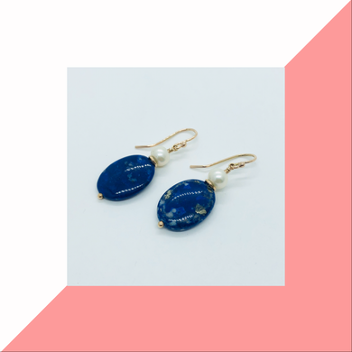 Lapis and Pearl Earrings