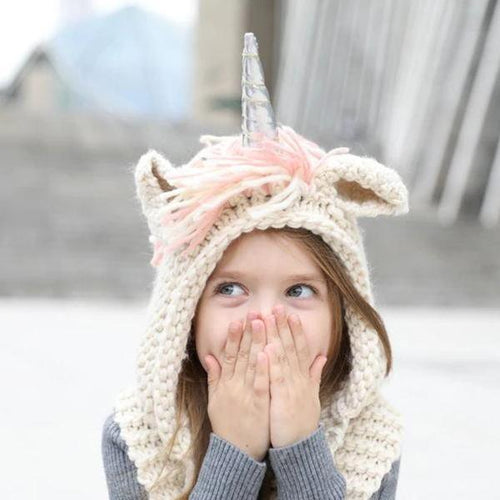KNITTED UNICORN HATS WITH SCARF SET
