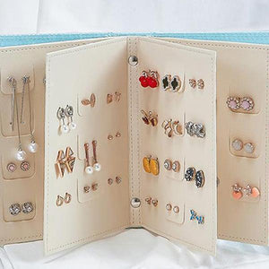 (50%OFF)  Travel Jewelry Case Pu Leather Earring Holder (Buy 3 get 4)
