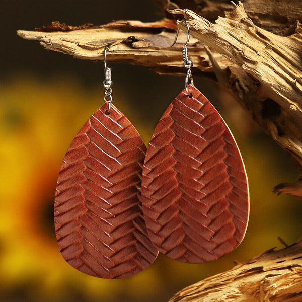 Fashion Water Drop Dual-Sided Leather Earrings