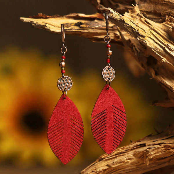 Vintage Leaf Beading Leather Earrings