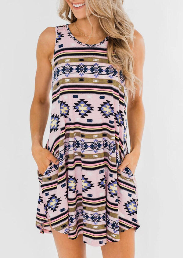 Aztec Geometric Printed Pocket Mini Dress without Necklace - Multicolor