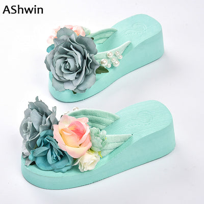 summer women flip flops thong slippers flower flatform shoes mules clogs  wedge handmade pearl slippers jelly 9679e46c4840