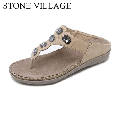 STONE VILLAGE Summer Bohemia Casual Women Flip Flops Women Flat Summer  Women Shoes Outdoor Beach Slipper 3110ba000c95