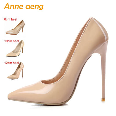Women shoes 8cm 10cm 12cm High Heels Women Pumps Sexy Ladies Shoes Pointed  Toe Classic Nude 6b31a075009e