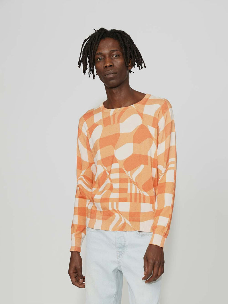 Lou Dalton Distorted Check Crew Neck Sweater - Archive Clothing