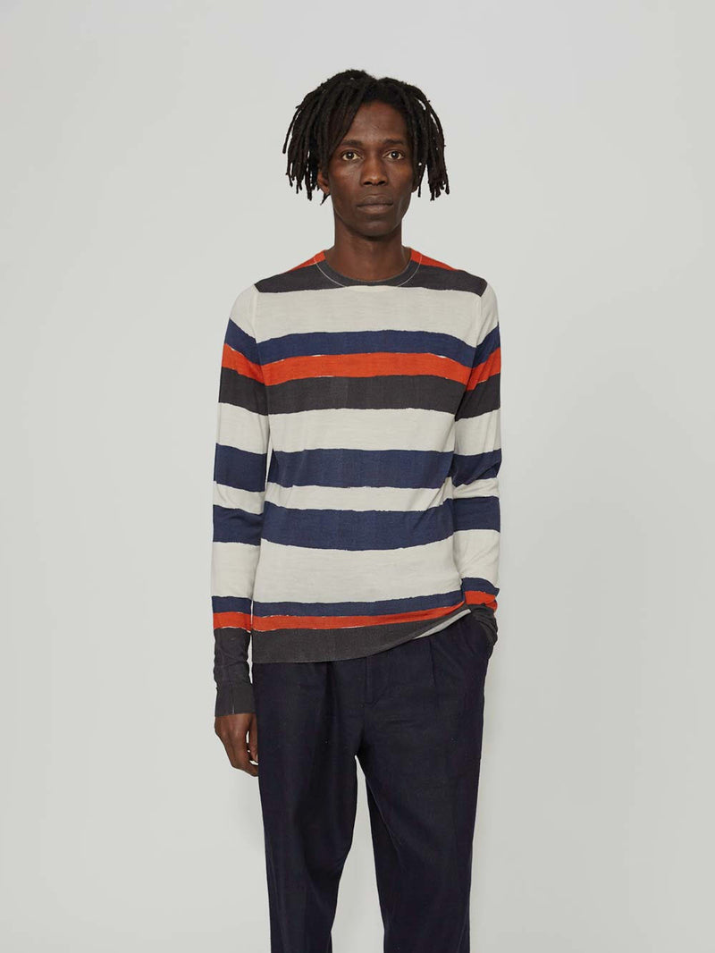 Lou Dalton x John Smedley Hand Drawn Stripe Crew - Archive Clothing