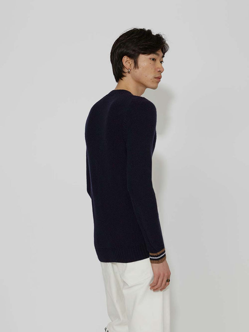 Lou Dalton Tuck Stich Stripped Cuff Crewneck - Archive Clothing