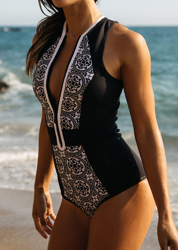 Printed Zipper One-Piece Swimsuit
