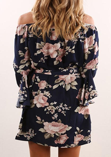 Floral Off Shoulder Flare Sleeve Mini Dress