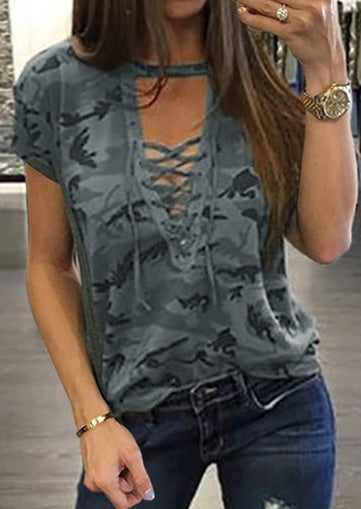 Lace Up Camouflage Printed Blouse