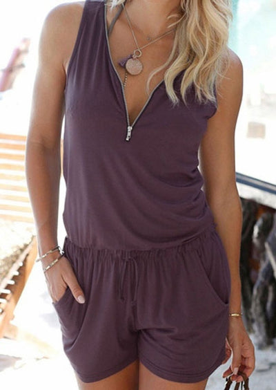 Solid Pocket Zipper Romper