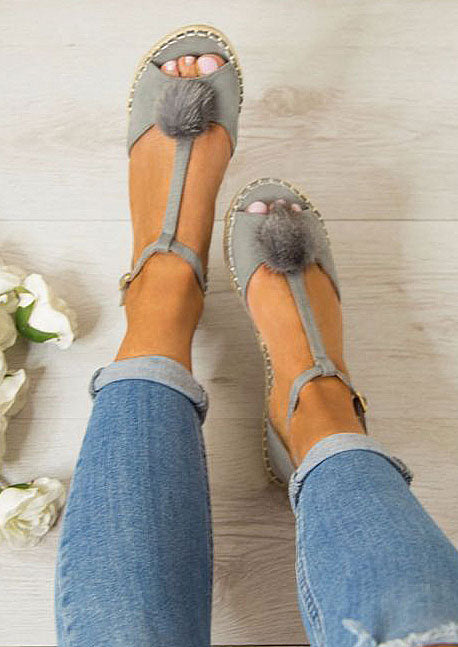 Solid Pompon Buckle Strap Flat Sandals