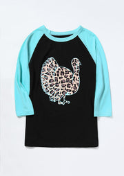 Turkey Wild Gobbler Leopard Printed Baseball T-Shirt Tee - Black