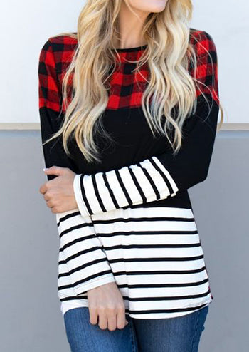 Plaid Splicing Striped Long Sleeve Blouse
