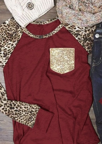 Leopard Printed Sequined Pocket Baseball T-Shirt