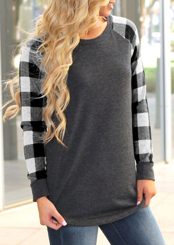Buffalo Plaid Splicing O-Neck Long Sleeve T-Shirt