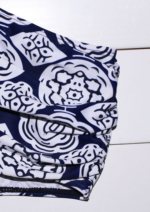 Printed Ruffled High Waist Bikini Set - Navy Blue