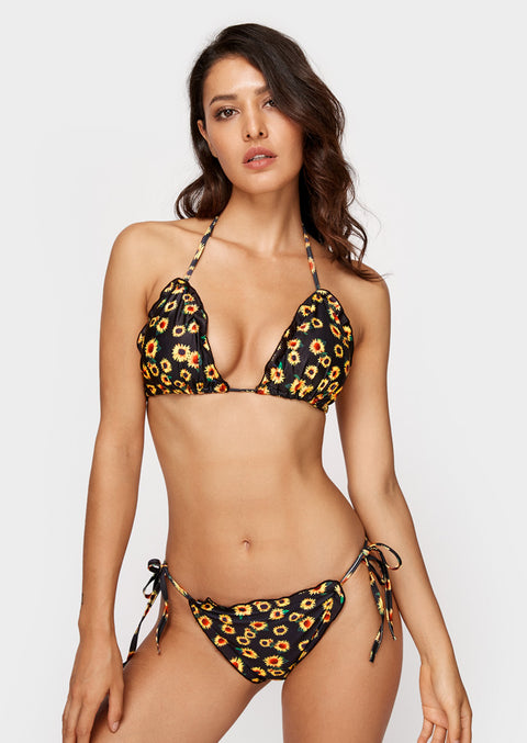 Floral Triangle Sexy Bikini Set