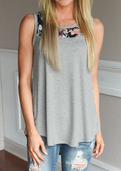Floral Splicing O-Neck Tank