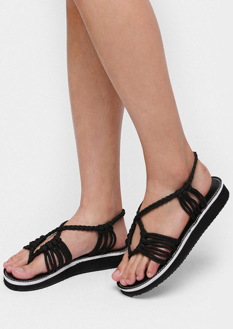 Braid Criss-Cross Flat Sandals