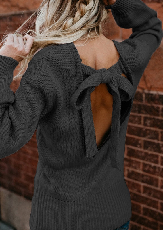 Solid Backless Tie Sweater