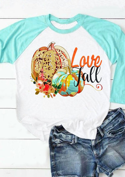 Leopard Love Fall Pumpkin Baseball T-Shirt