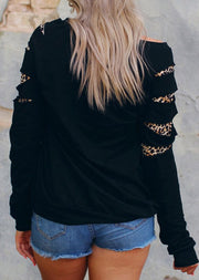 Leopard Printed One Shoulder Sweatshirt