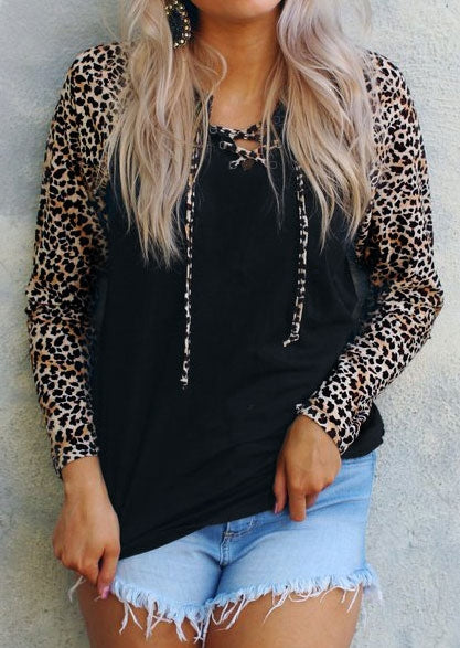 Leopard Printed Splicing Lace Up Long Sleeve Blouse