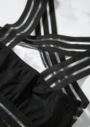 Solid Cross Transparent One-Piece Swimsuit - Black