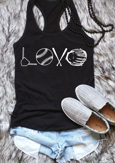 Love Baseball Tank - Black