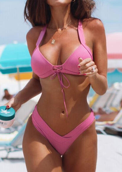 Solid Lace Up Halter Sexy Bikini Set without Necklace - Pink
