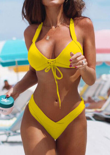 Solid Lace Up Halter Bikini Set without Necklace -Yellow