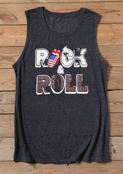 Rock & Roll O-Neck Tank - Dark Grey