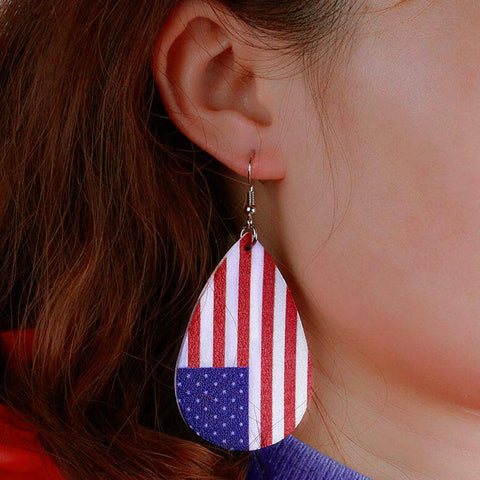 American Flag Printed Earrings - Red