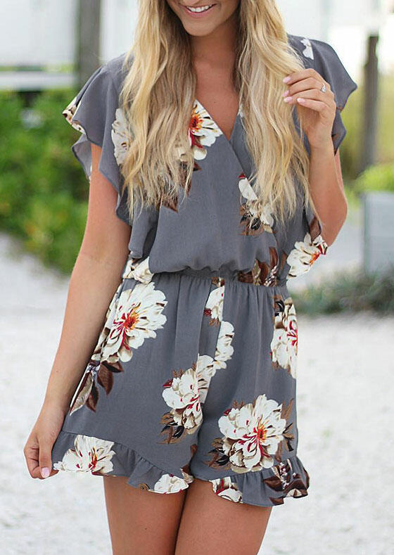 Floral Ruffled V-Neck Romper without Necklace - Gray
