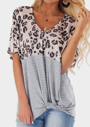 Leopard Printed Striped Blouse without Necklace - Leopard