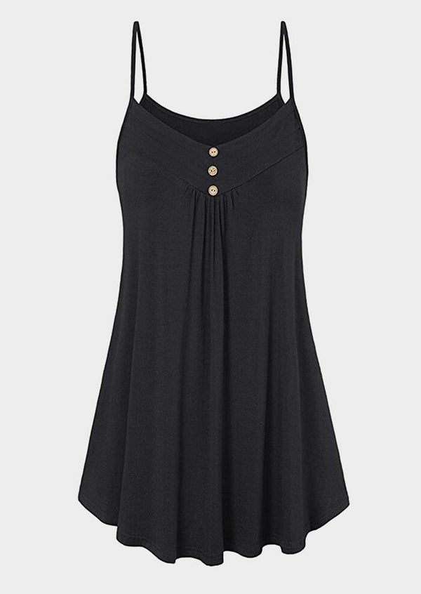 Solid Button Spaghetti Strap Mini Dress - Black