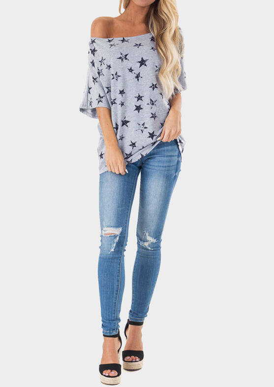 Star Off Shoulder Blouse - Gray