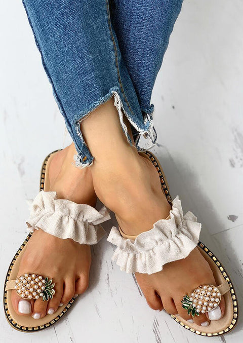 Pineapple Pattern Toe Ring Casual Sandals - Apricot