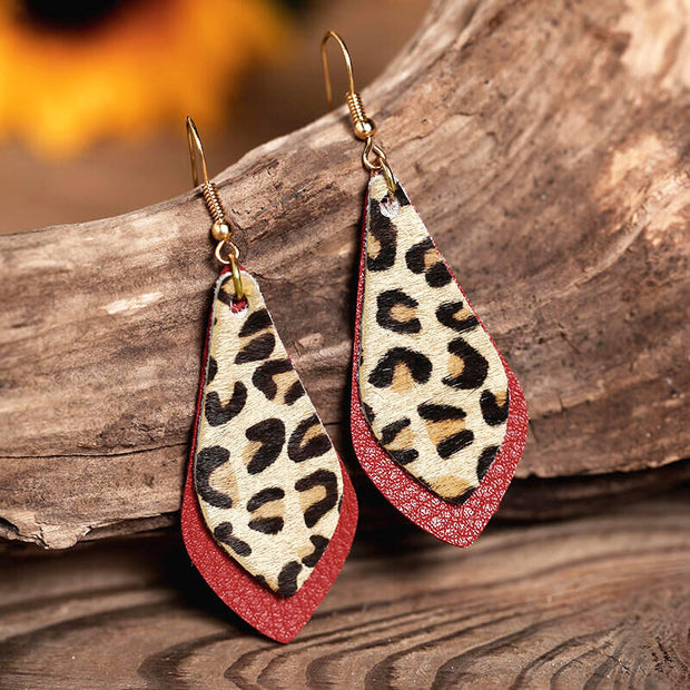 Leopard Printed Layed Leather Earrings