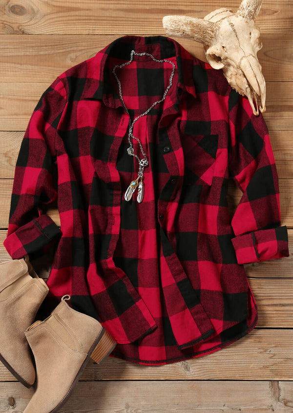 Buffalo Plaid Color Block Pocket Shirt