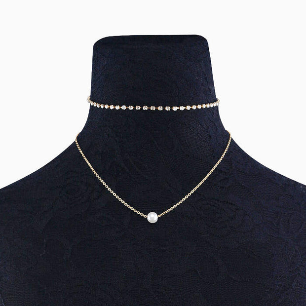 Multi-Layered  Rhinestone Pearl Pendant Necklace