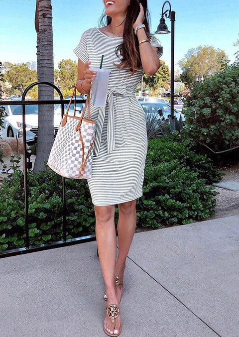 Striped Pocket Tie Mini Dress without Necklace