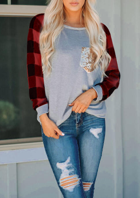 Buffalo Plaid Splicing Sequined Pocket Long Sleeve T-Shirt Tee - Red